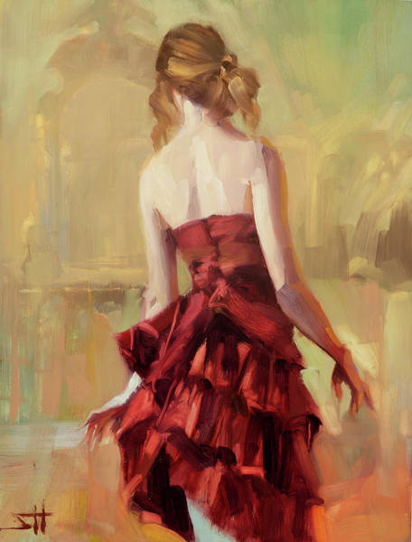 Stroke Painting - Girl In A Copper Dress II by Steve Henderson