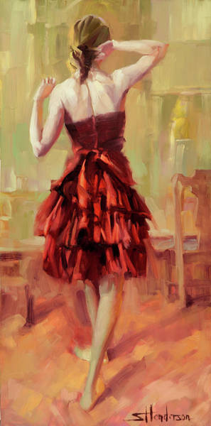 Background Painting - Girl In A Copper Dress IIi by Steve Henderson