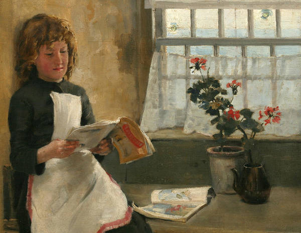 Newlyn Painting - Girl In A Cottage Window by Norman Garstin