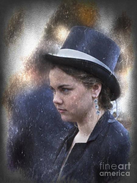 Photograph - Girl In A Dark Blue Hat by Elaine Teague