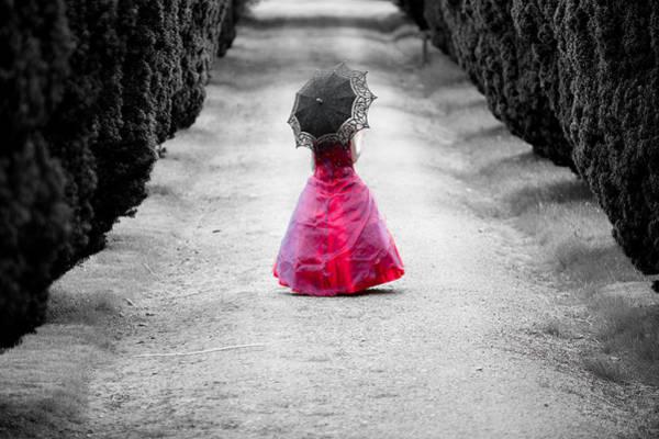 Girl In A Red Dress Art Print