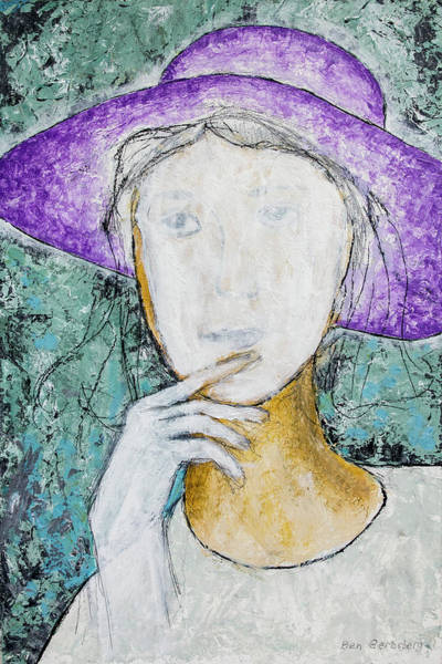 Wall Art - Painting - Girl With A Violet Hat by Ben Gertsberg