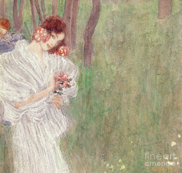Wall Art - Painting - Girl In A White Dress Standing In A Forest  by Gustav Klimt