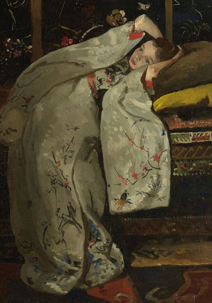 Embroidery Painting - Girl In A White Kimono by Georg-Hendrik Breitner