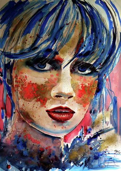 Mood Painting - Girl In Blue And Gold by Kovacs Anna Brigitta