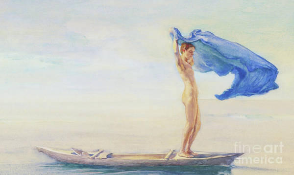 Spreading Wall Art - Painting - Girl In Bow Of Canoe Spreading Out Her Loin-cloth For A Sail, Samoa by John Lafarge or La Farge