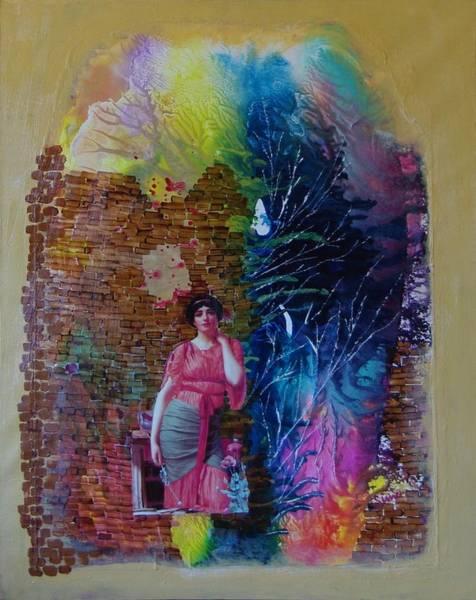 Girl In Front Of The Break Wall. Art Print