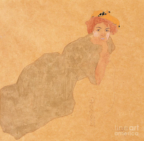 Painting - Girl In Olive Coloured Dress With Propped Arm by Egon Schiele