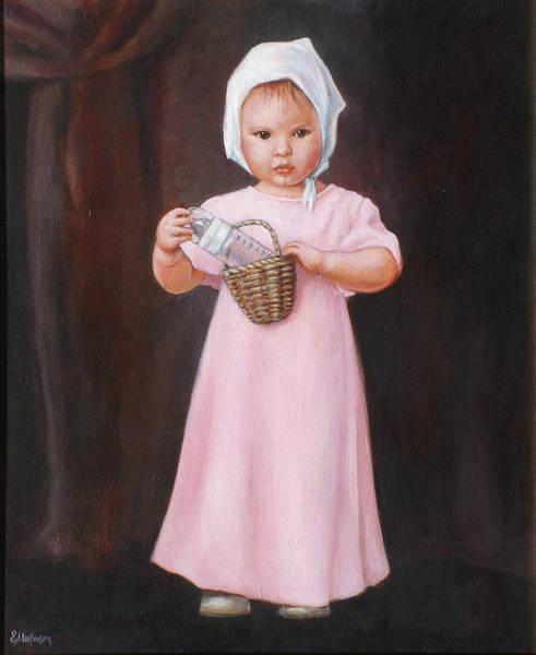 Wall Art - Painting - Girl In Pink by Ekaterina Mortensen