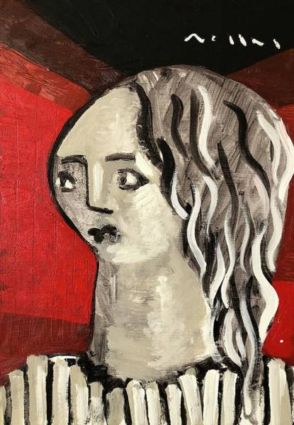 Wall Art - Painting - Girl In Red Room  by Mark M Mellon