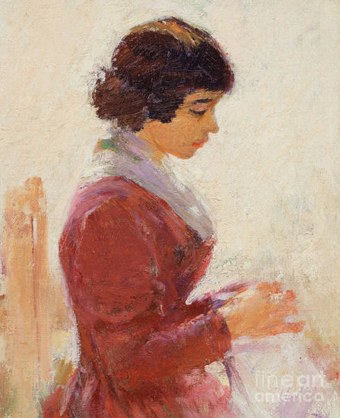 Posture Painting - Girl In Red, Sewing by Theodore Robinson