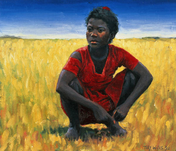Barley Painting - Girl In Red by Tilly Willis