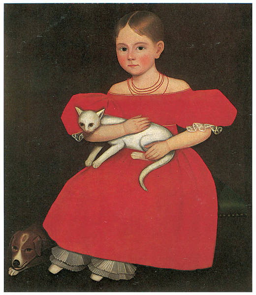 Cats And Dogs Painting - Girl In Red With Her Cat And Dog by Ammi Phillips