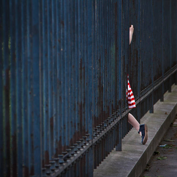 Child Photograph - Girl In Striped Red Dress by Veronica Gonzalez Vanek