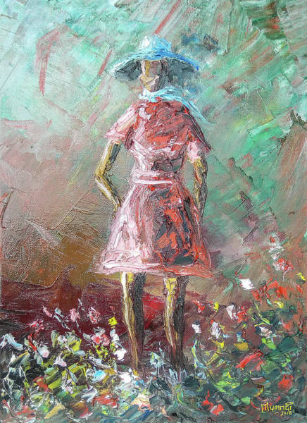 Wall Art - Painting - Girl In The Garden by Anthony Mwangi