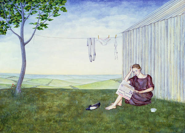 Wall Paper Painting - Girl In The Garden by Ditz
