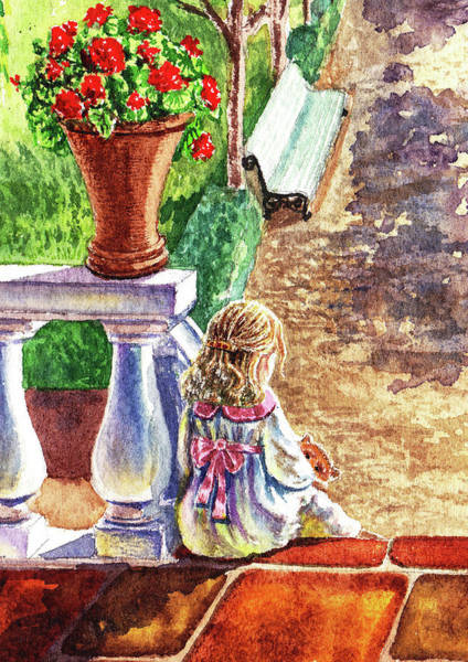 Teddy Bear Painting - Girl In The Garden With Teddy Bear by Irina Sztukowski