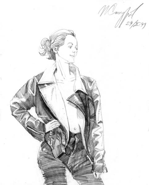 Drawing - Girl In The Leather Jacket by Igor Sakurov