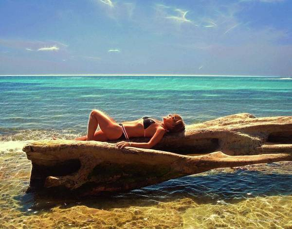 Photograph - Girl Laying Down On A Log by Coleman Mattingly