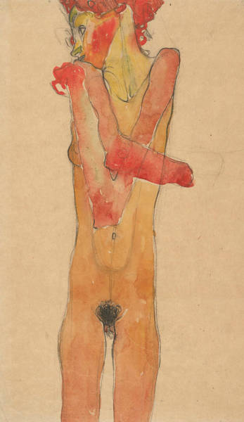 Expressionism Drawing - Girl Nude With Folded Arms by Egon Schiele