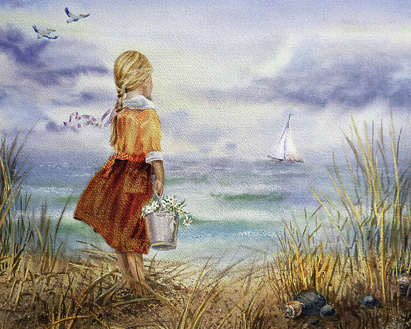 Painting - Girl Ocean Shore Birds And Seashell by Irina Sztukowski