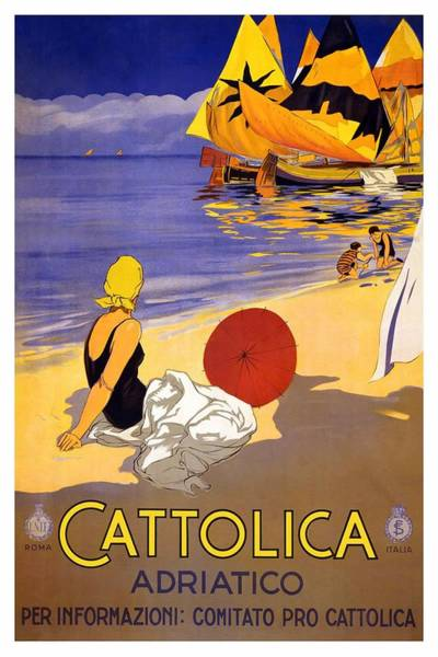 Kunst Wall Art - Painting - Girl On A Beach In Cattolica Rimini Italy - Vintage Travel Poster by Studio Grafiikka