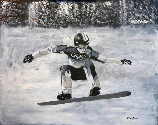 Painting - Girl On A Snowboard by Richard Le Page