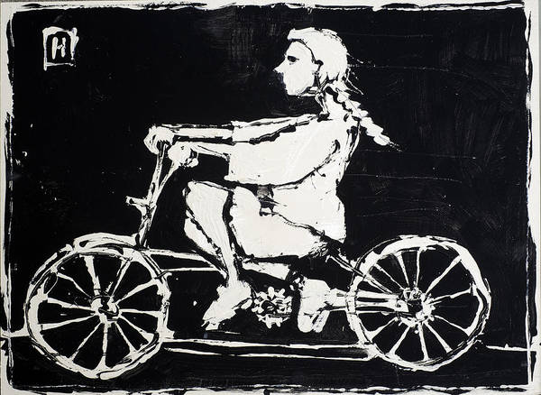 Naive Wall Art - Painting - Girl On Bike by H James Hoff