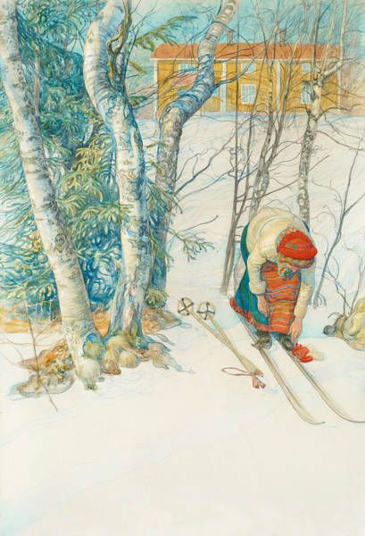 Painting - Girl On Skis by Carl Larsson