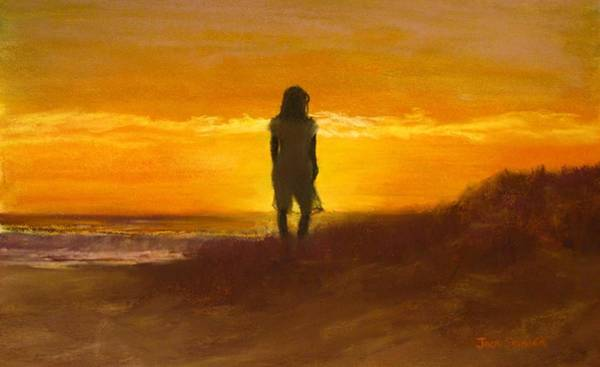 Wall Art - Painting - Girl On The Dunes by Jack Skinner