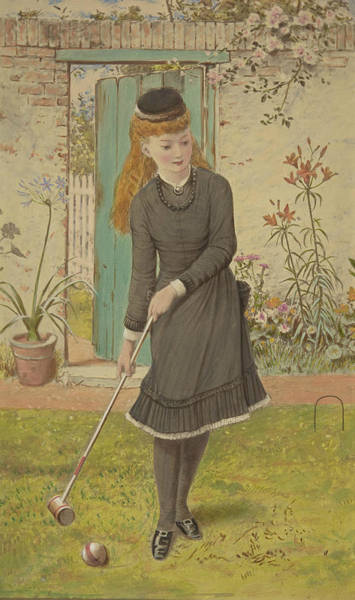 Wall Art - Drawing - Girl Playing Croquet by William Stephen Coleman