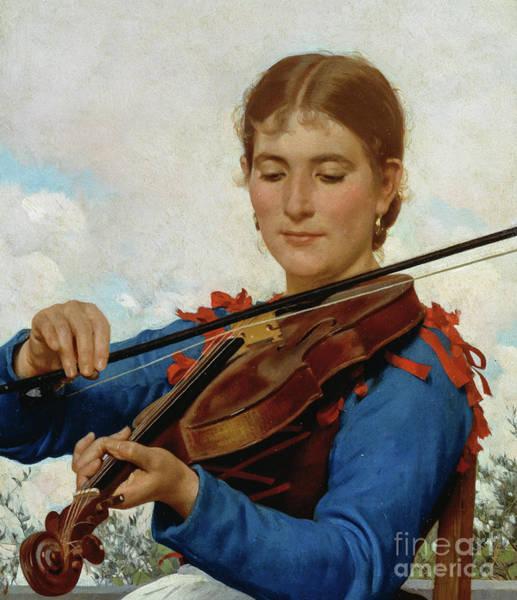 Violinist Wall Art - Painting - Girl Playing Violin by Raffaello Sorbi