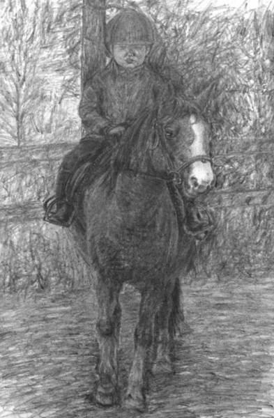 Drawing - Girl Riding A Horse 1 by Sami Tiainen