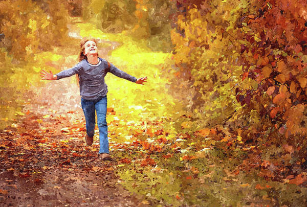 Painting - Girl Running In The Autumn Leaves by Movie Poster Prints