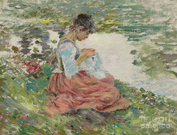 Embroidery Painting - Girl Sewing By River by Theodore Robinson