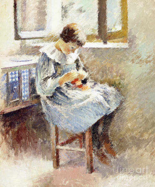 Embroidery Painting - Girl Sewing by Theodore Robinson
