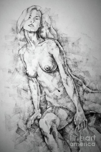 Drawing - Girl Sitting On Chair Pose Drawing by Dimitar Hristov