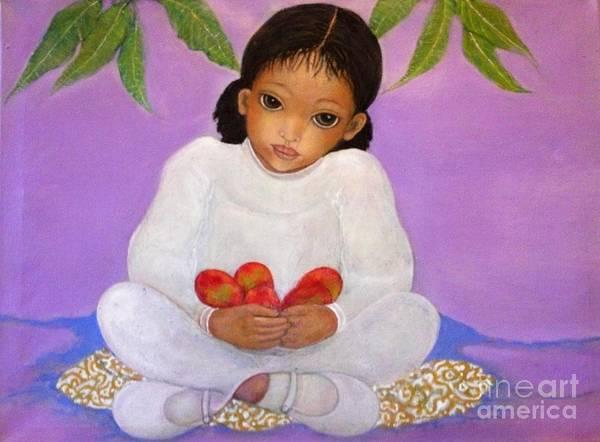 Wall Art - Painting - Girl Sitting Under Mango Tree by Katrina Dalton