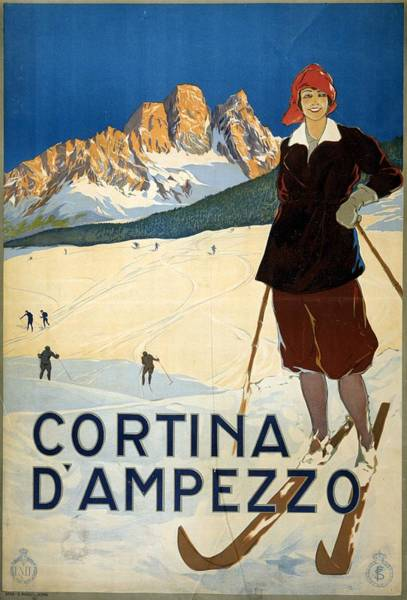 Kunst Painting - Girl Skiing On The Alps In Cortina D'ampezzo - Vintage Travel Poster by Studio Grafiikka