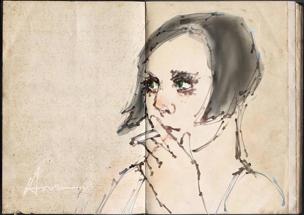 Dancer Drawing - Girl Smoking by H James Hoff