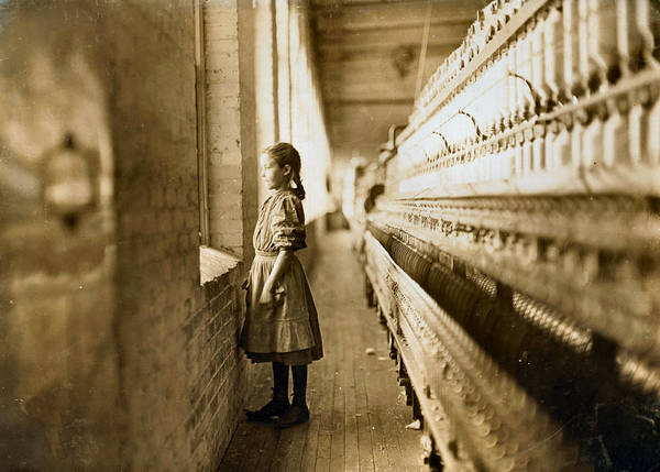 Photograph - Girl Spinner 11 Years Old Rhodes Manufacturing Co Lincolnton 1908 by Lewis Hine Presented by Joy of Life Art
