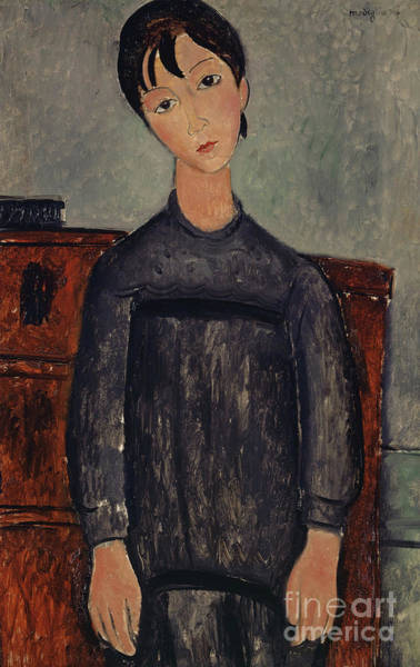 Wall Art - Painting - Girl Standing In A Black Pinafore, 1918  by Amedeo Modigliani