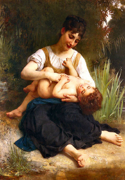 Painting - Girl Tickling A Child 1878 by William Bougeureau