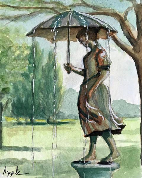 Wall Art - Painting - Girl W/umbrella by Linda Apple