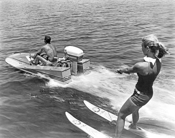 Wall Art - Photograph - Girl Water Skiing by Underwood Archives