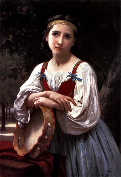 Painting - Girl With A Basque Drum 1867 by William Bouguereau
