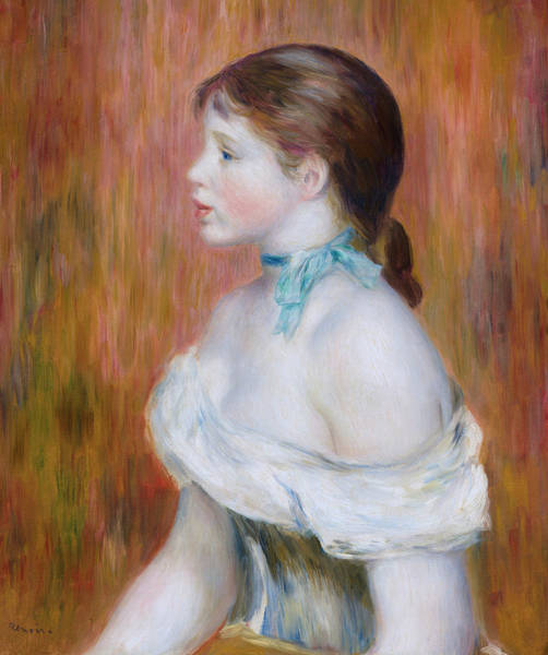 Blue Dress Painting - Girl With A Blue Ribbon by Pierre-Auguste Renoir