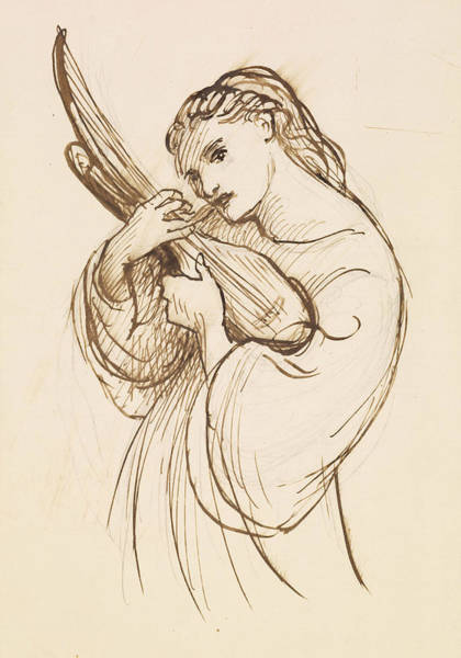 Drawing - Girl With A Musical Instrument by Dante Gabriel Rossetti