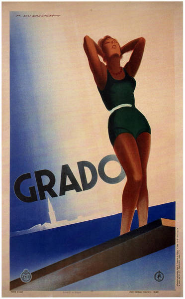 Kunst Painting - Girl With A Tan In Dark Green Swimsuit Beside The Sea In Grado Italy - Vintage Travel Poster by Studio Grafiikka