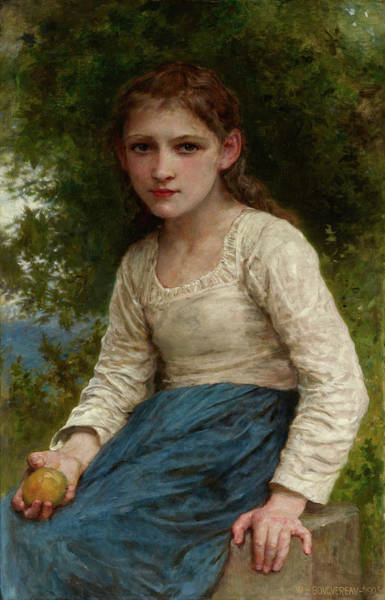 The Shepherdess Wall Art - Painting - Girl With An Apple by William Adolphe Bouguereau